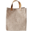wholesale high quality shopping gift jute tote bag with leather handle