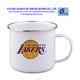 350ML customized PRINTED enamel metal camping cup with stainless steel rim
