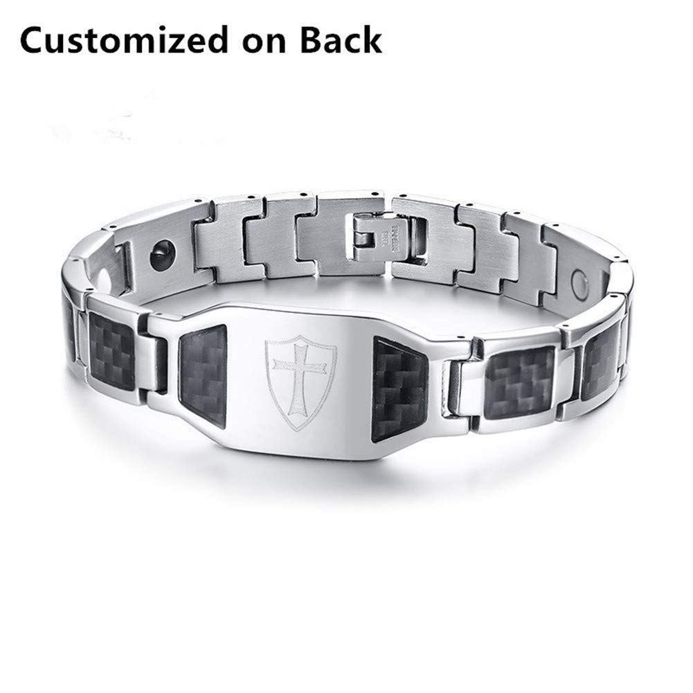 LF Mens Stainless Steel Personalized Name Knights Templar Cross 4 in 1 Magnetic Bracelet Carbon Fiber Therapy Healing Christian Link Bracelets for Husband Boyfriend Dad,Free Engraving Customized