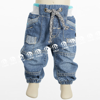 Infant baby denim jean jogger jean rib waist with mock draw cord with high quality jeans so fresh