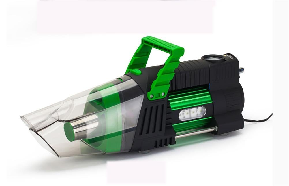 LEAJIA 5-in-1 Handheld Auto Car Vacuum 12V/180W Car Vac Wet Dry Tire Inflator Pump Pressure Gauge with LED Light , green