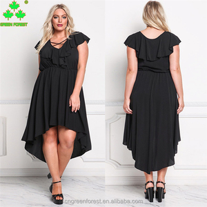 Plus Size Solid Criss-Cross Ruffled Asymmetric Casual Dress