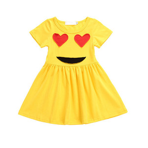 New design kids casual dress summer smile cotton frock baby girls