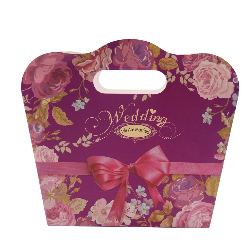 Red color customized printing folding wedding sweet gift packaging box with ribbon
