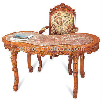 Carved Wooden Desk With Marble Top ,Antique Reading Room Furniture,Graceful  Home Office/