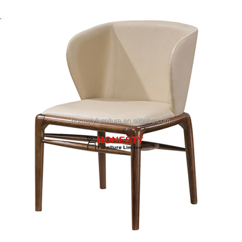 Hc090 Whole Home Goods Designer Modern Dining Room Upholstered Pu Leather Wood Design Armrest Lapel Chair