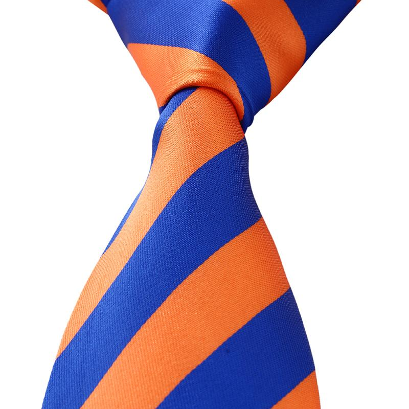 9ad87f8f265 Get Quotations · New Men Jacquard Silk ties for Leisure Necktie slim Blue  Orange Stripes Wedding MAN-TIE