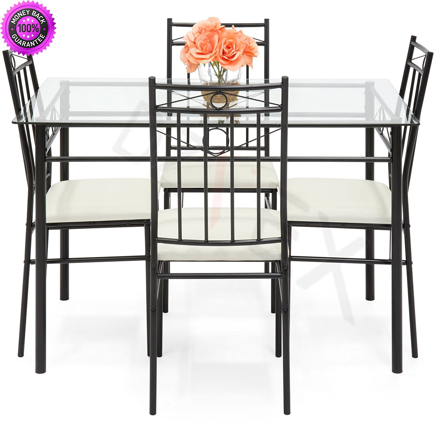 Dzvex 5 piece glass table dining set w chairs white and dining
