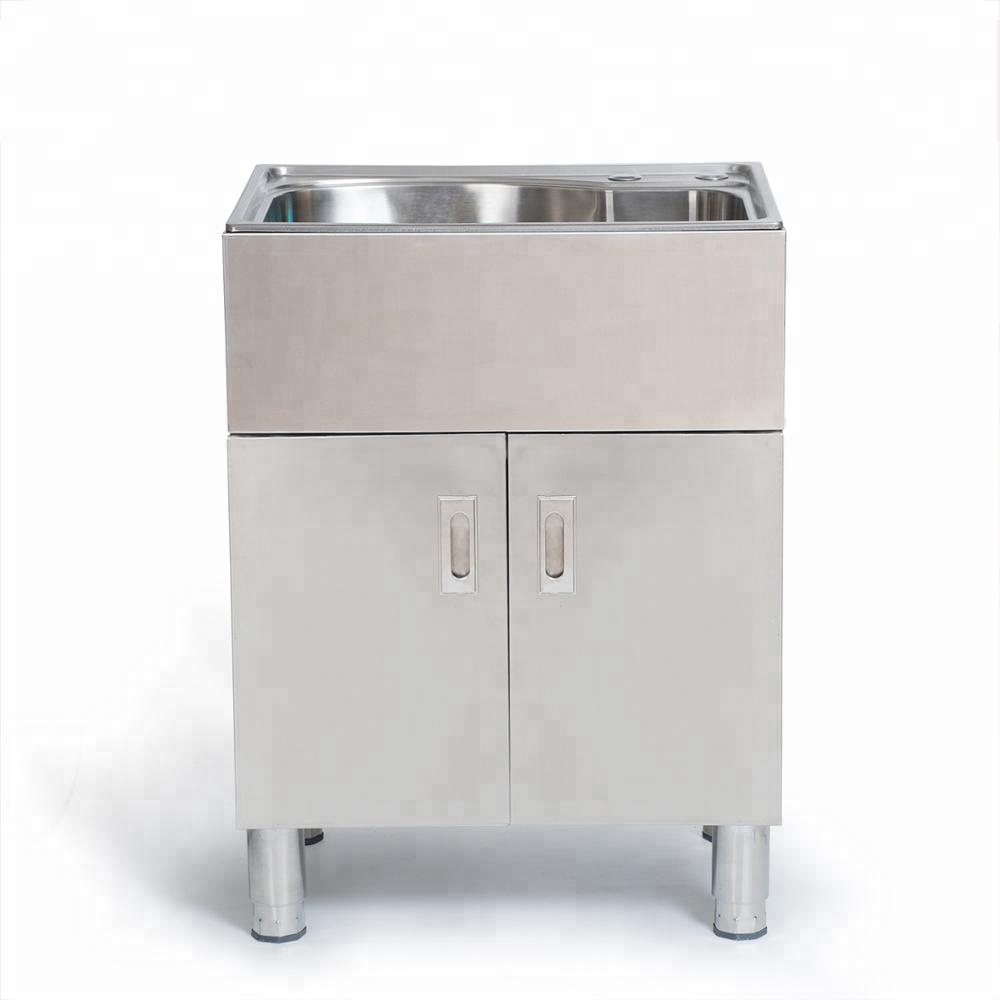 Stainless steel commercial household single star pool sink cabinet kitchen vanity integrated molding kitchen cabinet