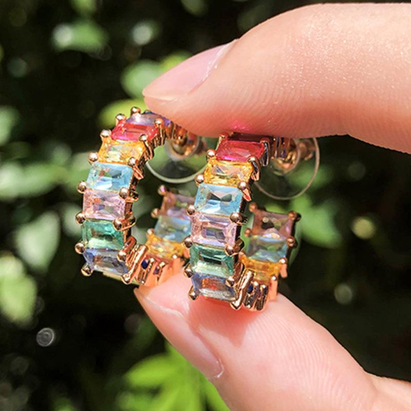 CM-Xinyee Wholesale beautiful women's earrings, rainbow zircon earrings, fashion charm фото