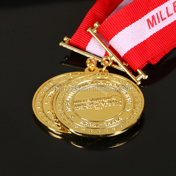 round gold embossed sport medals and trophys,custom metal blank medal
