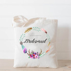 Wholesale Fashion Wedding Floral Women's Monogram Canvas Bridesmaid Gift Tote Bag