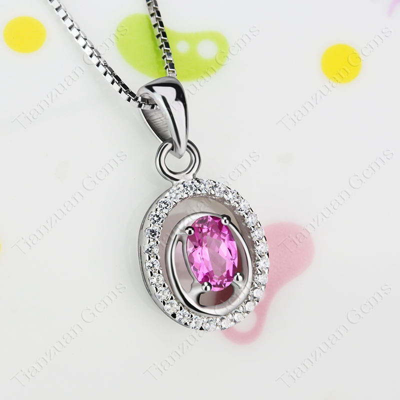 High quality hot sell new fashion oval shape multi color with 925 silver   charm  jewellery necklace pendent