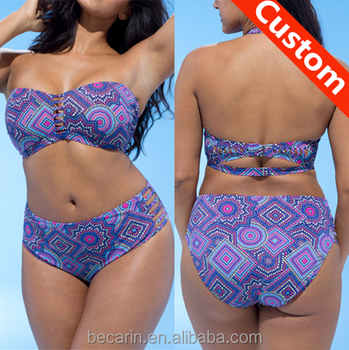 Swim Print bandeau Plus Suit Bikini African Product Bandeau On Piece Buy Swimwear Swim Bikini Size plus Custom Women Two q5R4Lj3A