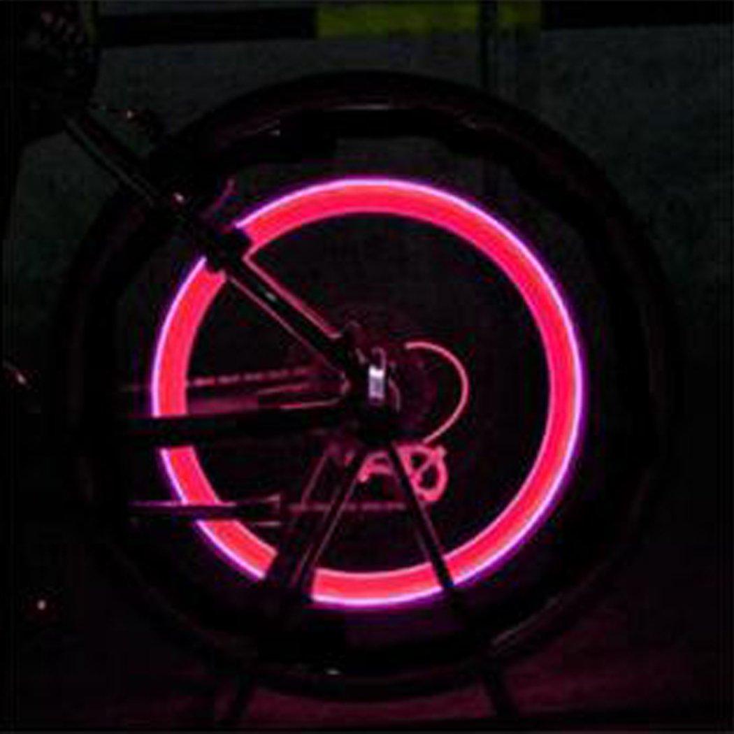 Ocathnon A Pair of Flashing LED Valve Cap Light Wheel Tyre Lamp Bulb For Car Vehicle Auto Trucks Motorcycle Bike (Red)