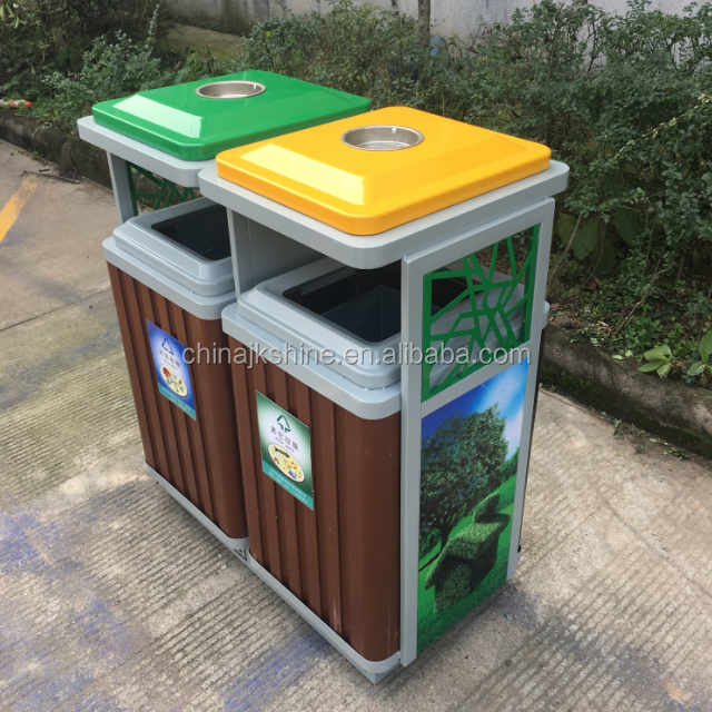 2018 NEW INNOVATIVE Recycling Bin Outdoor Large Capacity Steel Garbage Can Waste Recycling Bin for Street Beauty Pojects