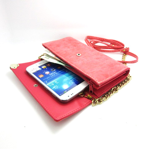 Universal Xiegua zipper shoulder bag phone package coin purse for Samsung Galaxy Note 2 N7100 note2 free shipping