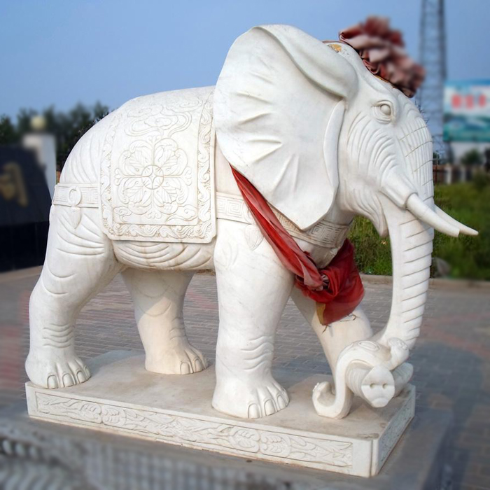 Door Guardian Large White Marble Stone Elephant Garden Statues
