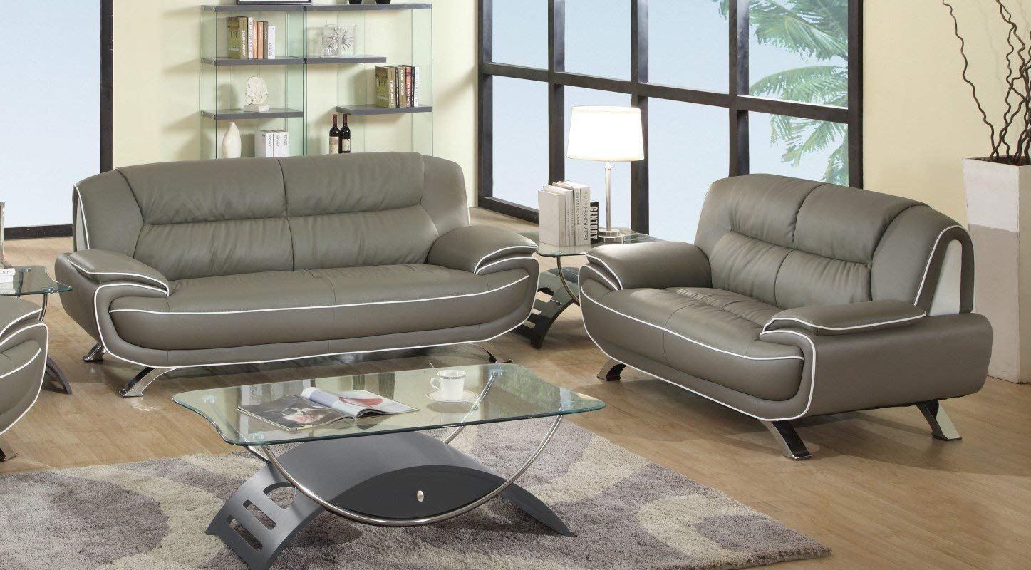 Blackjack Furniture 405-GRAY-2PC 405 Series Modern Faux Leather Sofa and Loveseat, Gray
