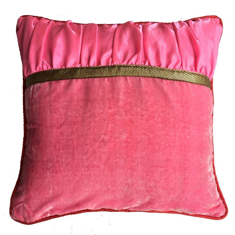 Decorative Square Luxuries Velvet Silk Piping Pillow cover with Pink Velvet Pink Color Dupioni & Red Piping pillow cover