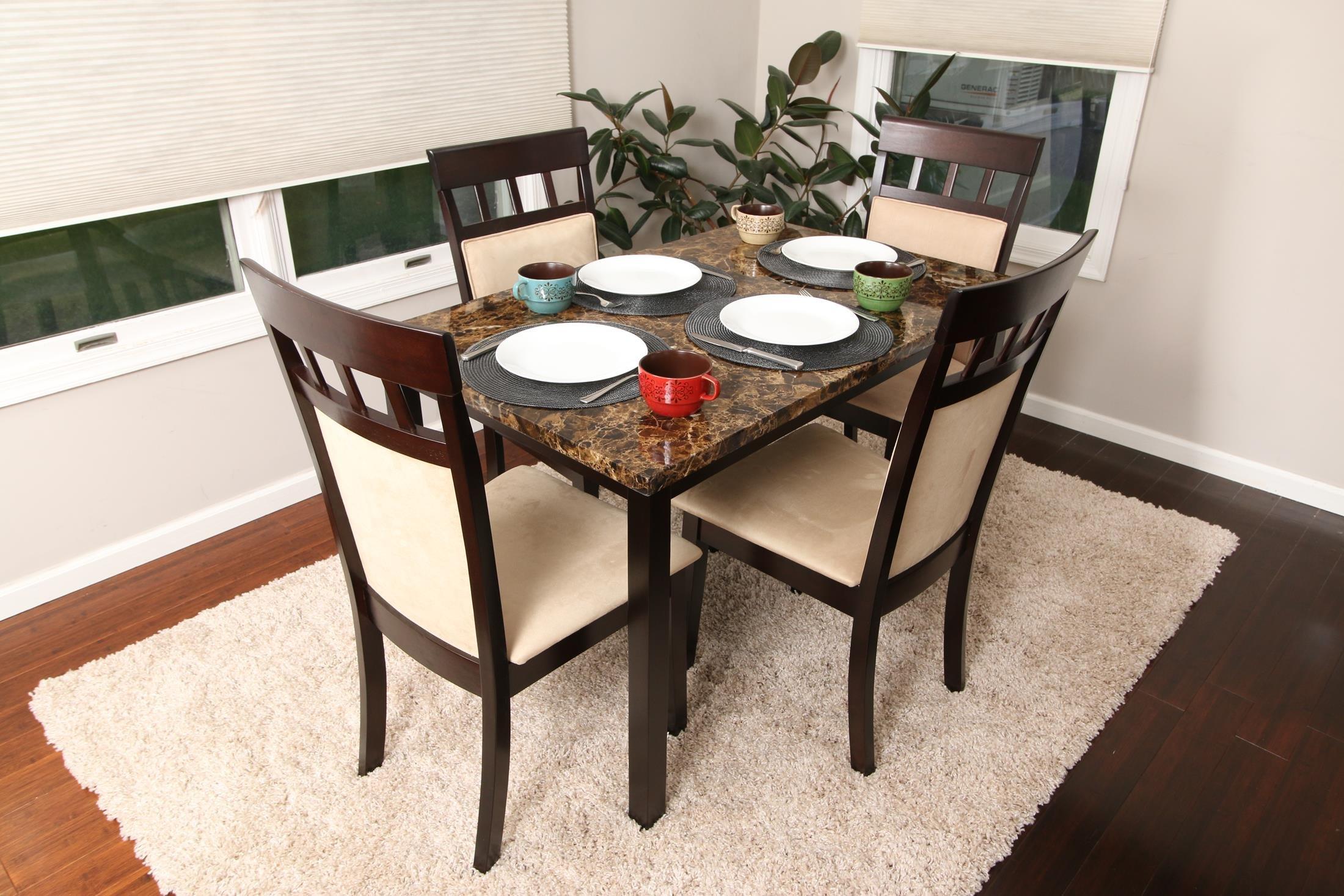 4789e04fa24 5 PC Thick Marble Espresso Brown 4 Person Table and Chairs Brown Dining  Dinette - Espresso