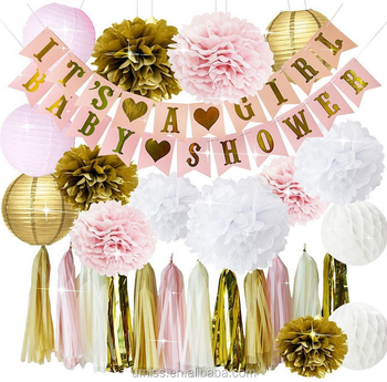 Umiss Paper Pink And Gold Girl Baby Shower Party Decorations Bunting