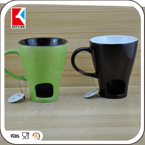 chocolate two tone ceramic fondue mug