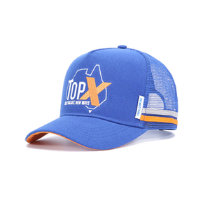 Custom australia royal blue 100 acrylic high profile 5 panel embroidered trucker mesh cap