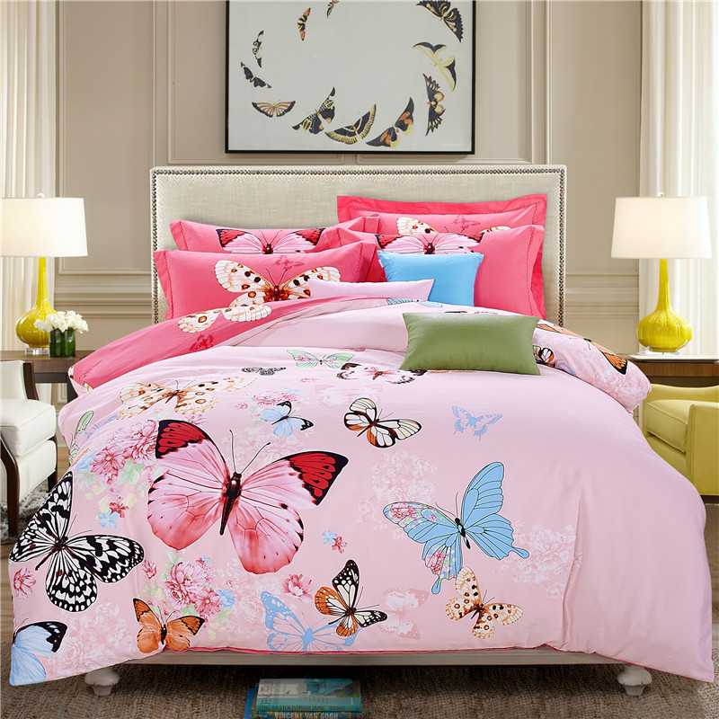 Pink Butterfly Duvet Cover Home Decor