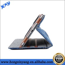HXY leather cover for ipad 3 with blue jeans cloths