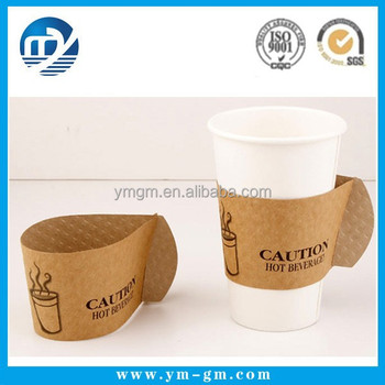 Custom Hot Coffee Kraft Paper Cup Sleeve With Handle
