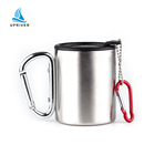 Double wall stainless steel travel mug with Carabiner handle portable metal camping coffee cup