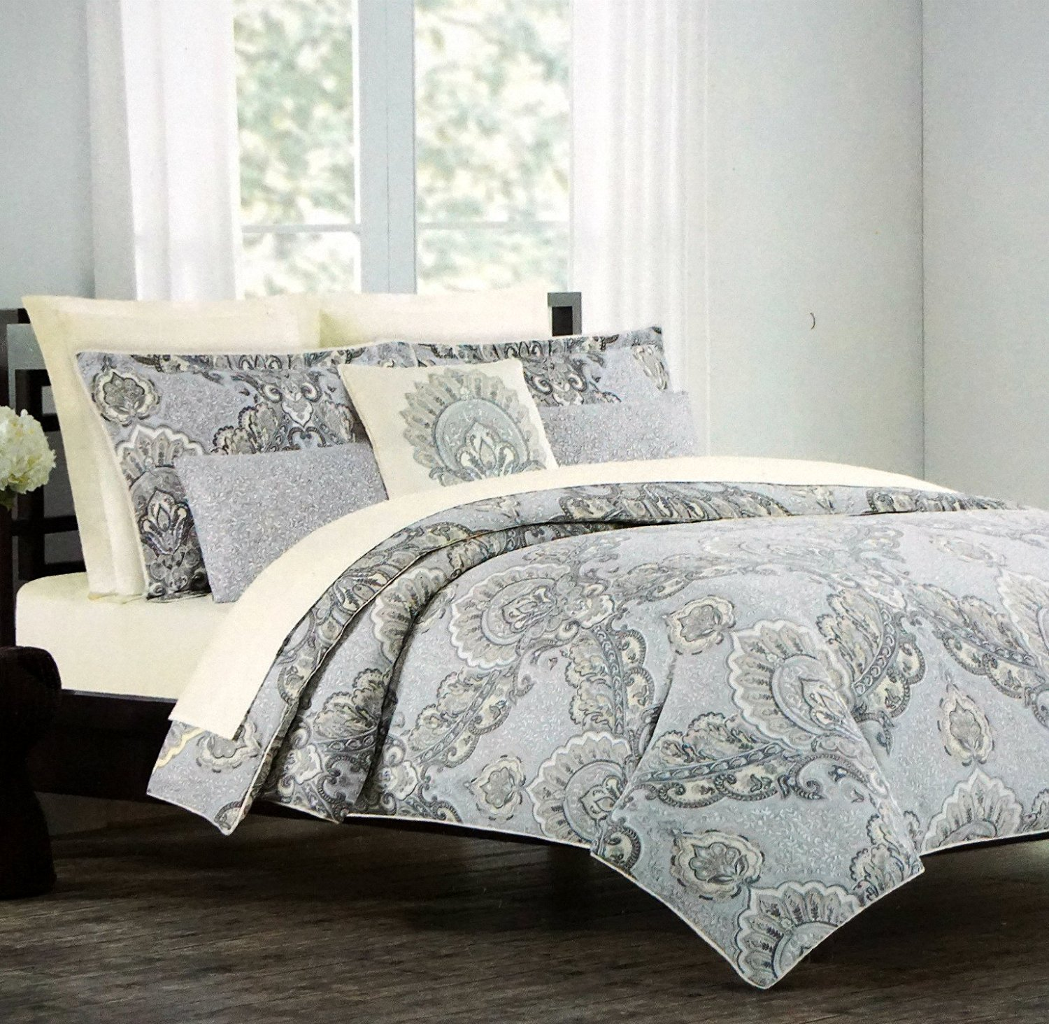 Buy Cynthia Rowley Duvet Cover Luxury Boteh Paisley Print In Grey Slate Blue 3 Piece Set In Full Queen Or King Size Queen In Cheap Price On M Alibaba Com