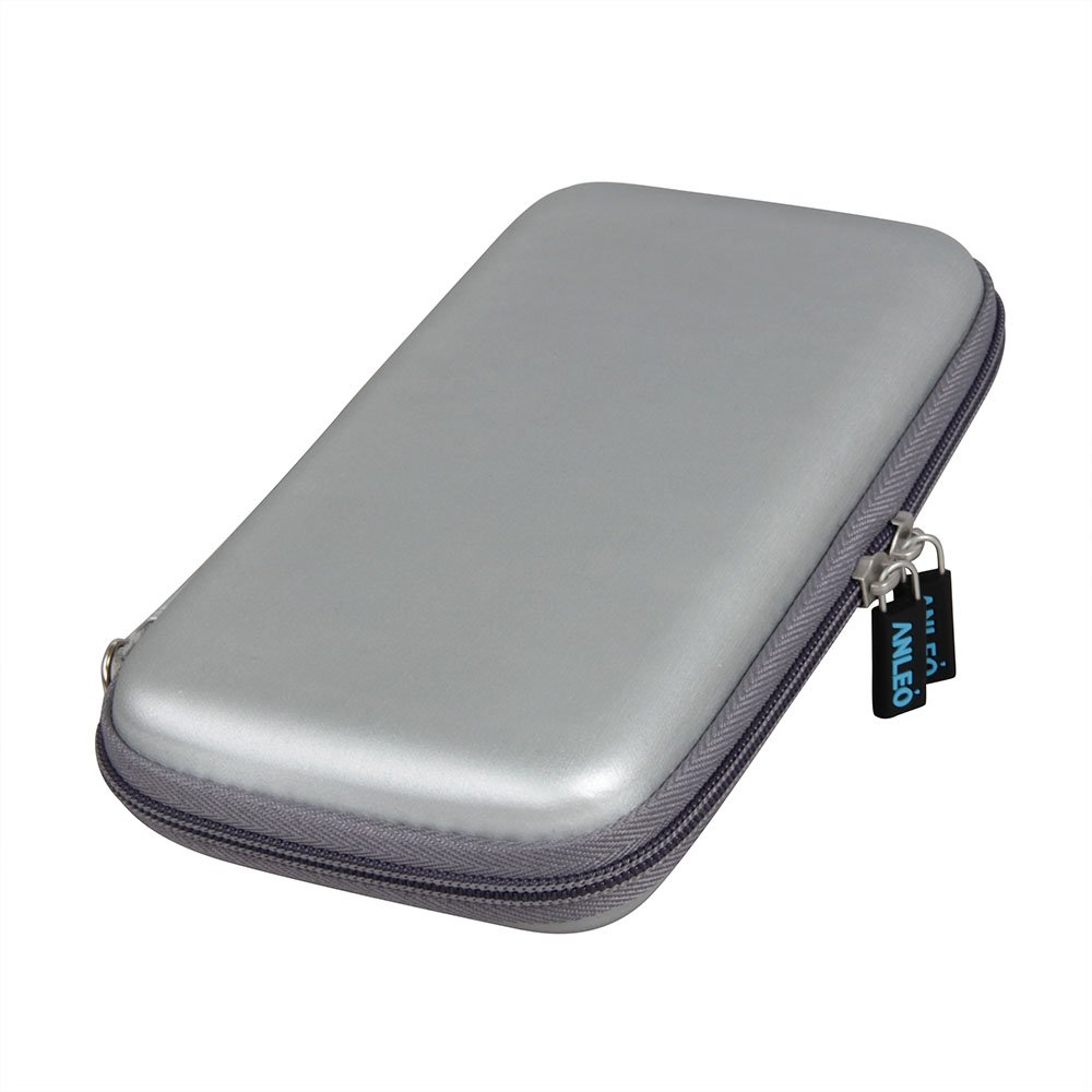 Anleo Hard EVA Travel Case fits DULLA M50000 Portable Power Bank 12000mAh External Battery Charger Color: Silver
