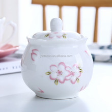 Hotel colorful ceramic mini spice cruet for kitchen porcelain floral small seasoning pot with lid