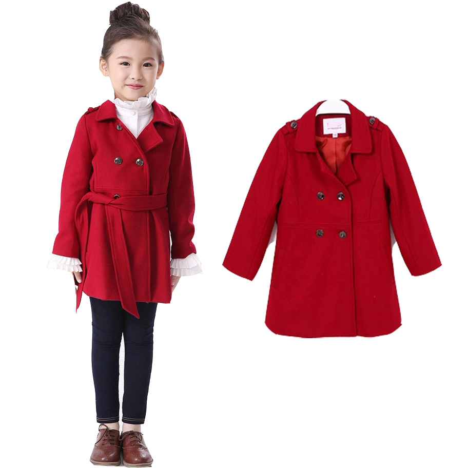 Children Wool Coats Fashion Warm Thick Korean Girls Winter Jackets Double-Breasted Clothing 2015 Free Shippping AP0303