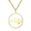 SJUSAB004 Wholesale 18K Gold Plated Brass USA North Carolina State Map Necklace Silver/Yellow/Rose Gold for Option