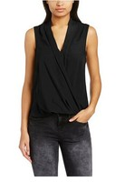 No MOQ China Factory Ladies Blouse Women's Wrap Front Sleeveless Blouse