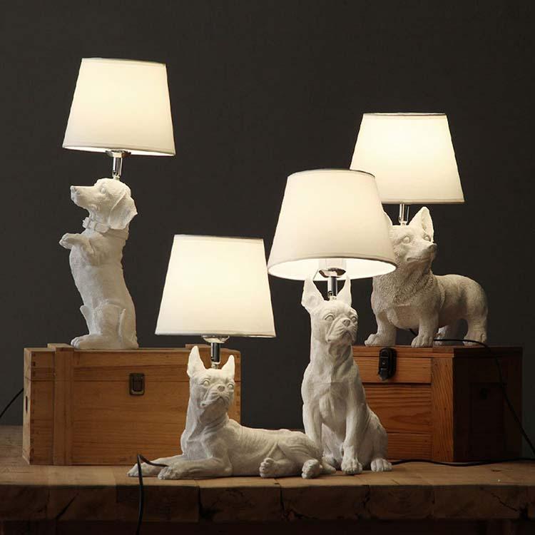 Home Decor Resin Table Light for Kids Bedside Desk Lamp dogs Animal base Table Lamp