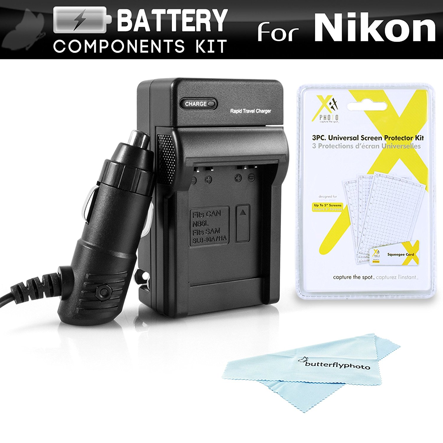 Battery Charger Kit For Nikon COOLPIX S3700, S2900, S33, S7000, S6900, S4300, S6400, S5200, S6500, S3200, S4200, S32 Digital Camera Includes Ac/Dc 110/220 Rapid Travel Charger For Nikon EN-EL19 Battery + LCD Screen Protectors + MicroFiber Cloth