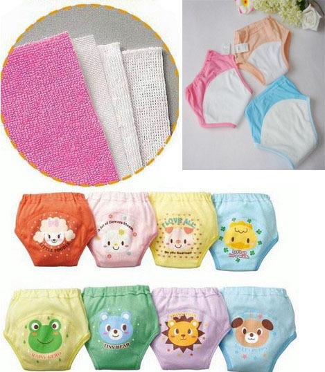 8pcs lot Reusable potty training pants for babies underwear newborn shorts panties infant cloth nappies free