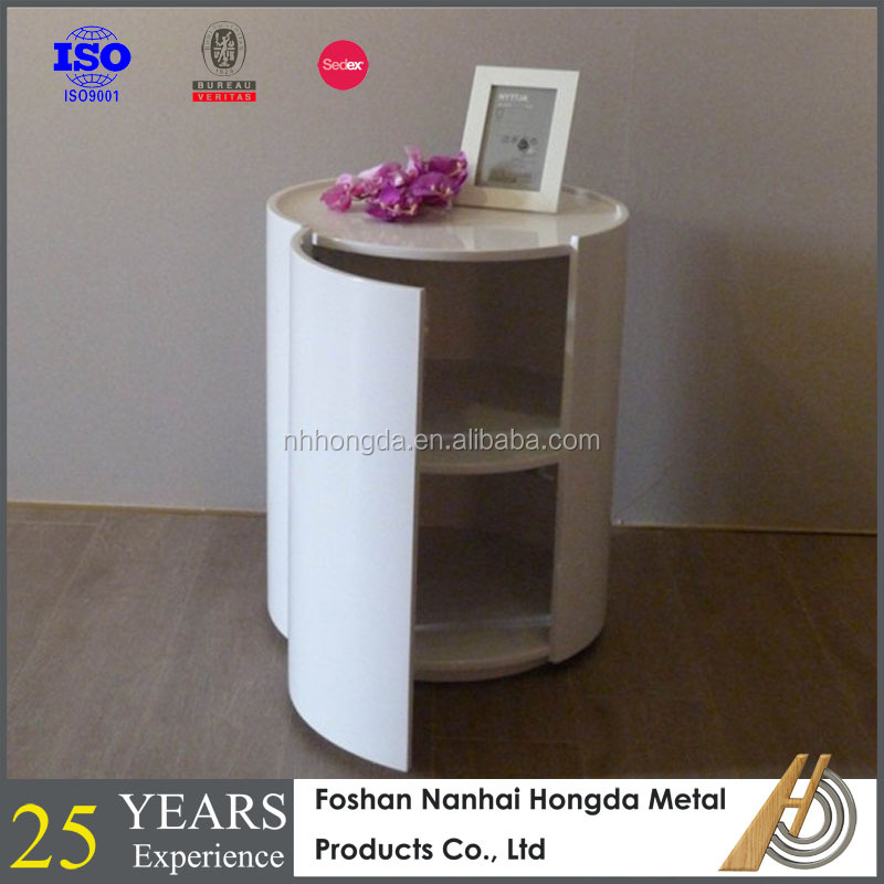 High glossy white swinging table with storage case for living room