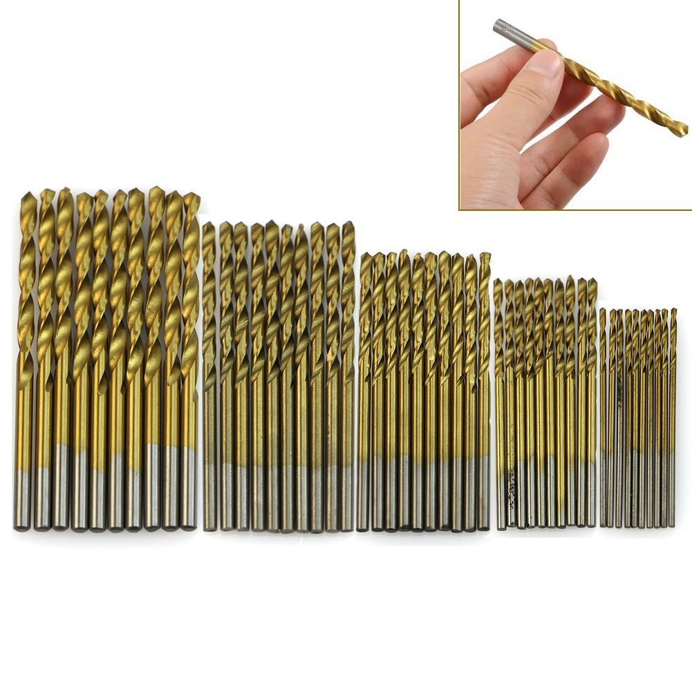 New Tool Set 1/1.5/2/2.5/3mm Titanium Coated HSS High Speed Steel Twist Drill Bit 50Pcs