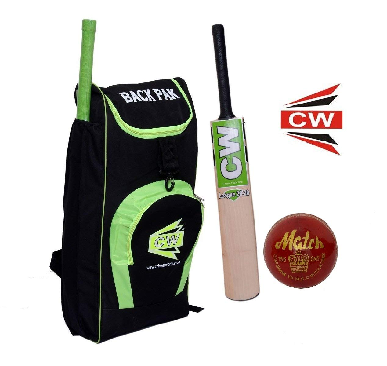 C&W Exclusive T20 Match Individual Prime Multiccolor Combo pack Sports Cricket Kit Set Inclusive Shoulder Cricket Equipment Shoulder Bag +Cricket Bat+Leather Ball