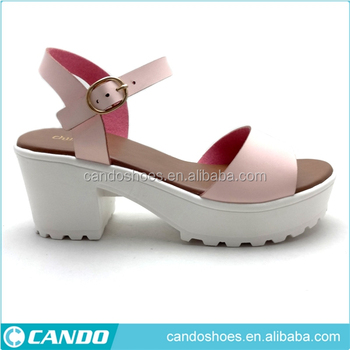 a333b9ac339 monogram sandals New design ladies fashion pink chunky block high heel  sandals 2019 summer