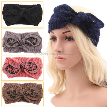 Women Crochet Bow Turban Knitted Headwrap Hair Band Winter Ear