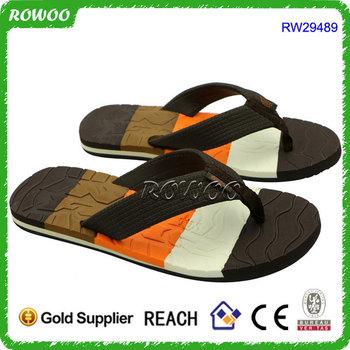 dbbcad2febb2 Fashion Mens Brown And Black Toe Post Thong Flip Flops Beach Sandals ...