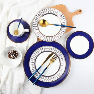 Good quality fine bone china dinner set Luxurious style royal 8pcs ceramic dinner set