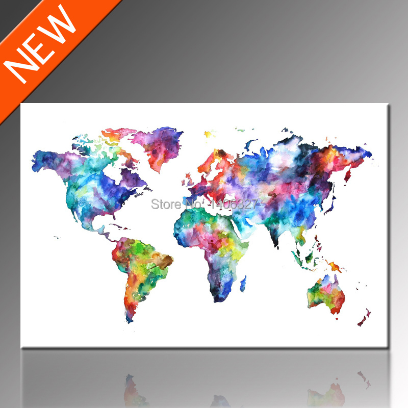 Free Shipping World Map Canvas Wall Art Classical Design