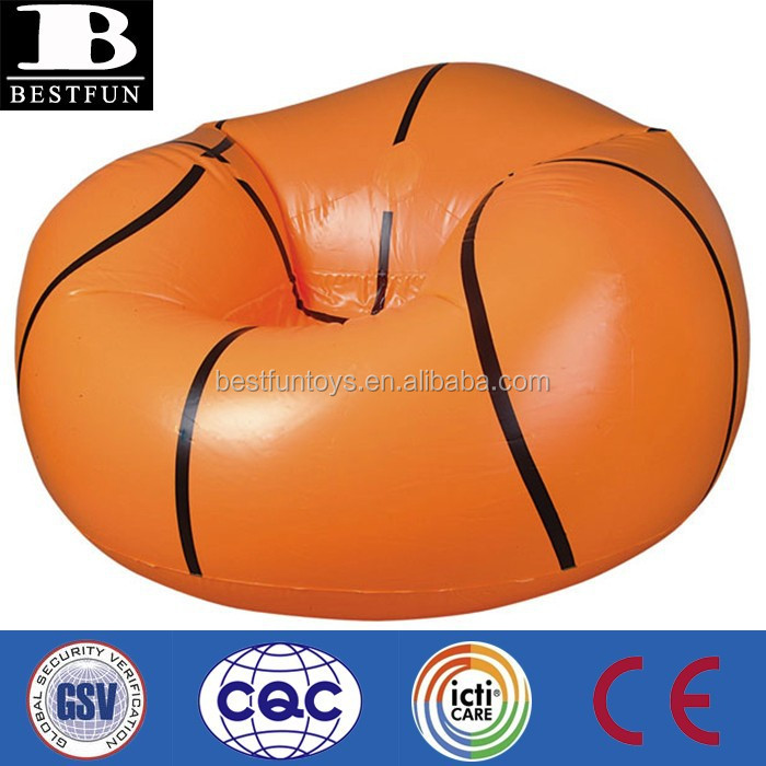 Factory custom made basketbal stoel opblaasbare basketbal fauteuils zitzak stoelen PVC sport stoel